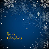Retro simple Christmas card with snowflakes. Retro simple Christmas card with white snowflakes on blue background Royalty Free Stock Image