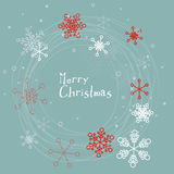 Retro simple Christmas card with snowflakes. Retro simple Christmas card with white snowflakes on blue background Royalty Free Stock Photos