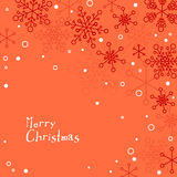Retro simple Christmas card with white snowflakes Stock Photo