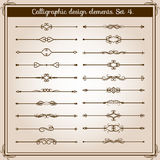 Retro simple scroll page dividers. Vector vintage separating elements Royalty Free Stock Images