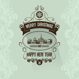 Retro simple vintage Merry Christmas  greeting card with Happy New Year Stock Images