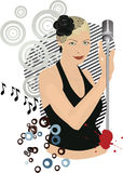 Retro singing girl. Club sound party .Singing Girl with a microphone in club, vector illustration Stock Photo