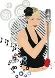 Retro singing girl Stock Photo
