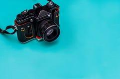 Retro film camera with empty space. Travel concept. stock photos