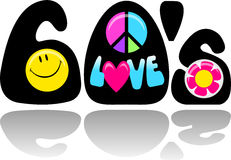 Retro Sixties Peace Love/eps. Retro 1960's illustration with smiley face, peace sign, love and flower power button Stock Photo