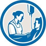 Retro sjuksköterskaTending Sick Patient cirkel Arkivbild
