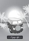 Retro skåpbil bakgrund Royaltyfri Bild