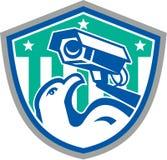 Retro sköld för Eagle Security CCTV-kamera stock illustrationer