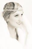 Retro skönhet i sepia royaltyfria foton