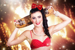 Retro skate pinup girl in cute eighties fashion Royalty Free Stock Image