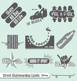 Retro Skateboarding Labels and Stickers. Collection of vintage style skateboarding labels and badges Royalty Free Stock Photo