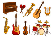 Retro sketch of classical musical instruments Stock Images
