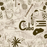 Retro sketch Cuban seamless pattern Royalty Free Stock Photography