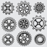 Retro sketch mechanical gears. Hand drawn vintage cog wheel parts of factory machine vector illustration Royalty Free Stock Photography
