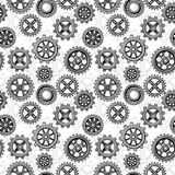 Retro sketch mechanical gears seamless pattern design Stock Images