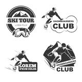 Retro ski vector emblems, badges and logos set Royalty Free Stock Photography