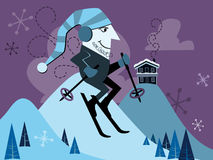 Retro Skier Illustration Stock Image
