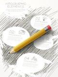 Retro skissa stil som är infographic med blyertspennabeståndsdelen stock illustrationer
