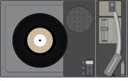 Retro skivspelare med rekordet för 45 r/min. Royaltyfri Bild