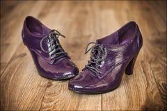 Retro skor för rosa damer royaltyfria bilder