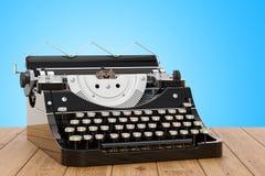 Retro skrivmaskin på trätabellen, tolkning 3D vektor illustrationer
