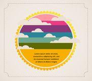Retro sky with clouds and sun.Vector  infographics Stock Images