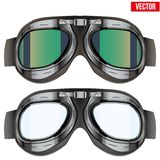 Retro skyddsglasögon för flygarepilotexponeringsglas Isolerat på Arkivfoto