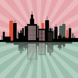Retro Skyline Illustration Royalty Free Stock Photo