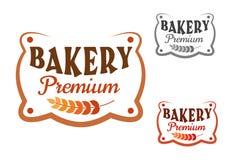 Retro skylt för högvärdigt bageri med vete Royaltyfri Bild