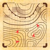Retro slagplan met doelstellingen, uitstekende kaart op oud geel document vector illustratie