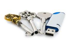 Retro sleutels en aandrijving van de computerflits Royalty-vrije Stock Afbeeldingen
