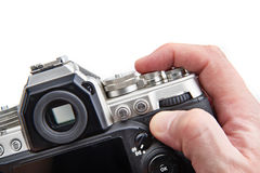 Retro SLR camera in hands of photographer isolated Royalty Free Stock Photo