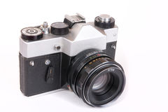 Retro SLR camera with portrait lens Stock Image