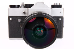 Retro- SLR Kamera mit Teleaufnahmeobjektiv Stockbild