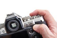 Retro SLR kamera w rękach odizolowywać fotograf Zdjęcie Royalty Free