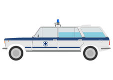 Retro small ambulance car. Retro small ambulance on a white background Stock Photo