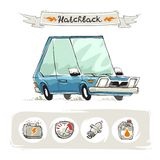 Retro Small Hatchback Set Stock Images