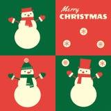 Retro snögubbear för julkort tre Royaltyfri Bild