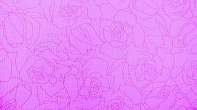 Retro snöra åt blom- sömlös Rose Pattern Pink Fabric Background tappningstil Arkivfoto