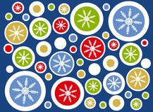 Retro Snowflake Circles Background Stock Image