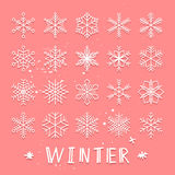 Retro snowflake set Royalty Free Stock Photo