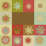 Retro snowflakes background template. EPS 8 Stock Photography