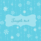 Retro Snowflakes Card in Blue Stock Image