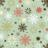 Retro snowflakes seamless pattern. Winter holidays seamless pattern with cartoon snowflakes. Made in reto style Stock Illustration