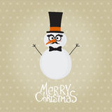 Retro Snowman with Mustache Royalty Free Stock Photos