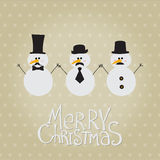 Retro Snowman with Mustache and Hats Stock Images