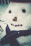 Retro Snowman in Red Bucket Royalty Free Stock Images