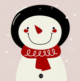 Retro Snowman with red Scarf Royalty Free Stock Photo