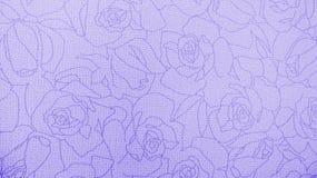 Retro snöra åt blom- sömlös Rose Pattern Purple Fabric Background tappningstil Arkivfoto