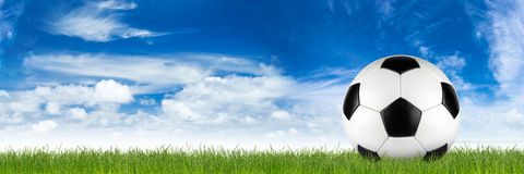 Retro soccer ball. Retro black white leather soccer ball on grass in front of blue sky stock images